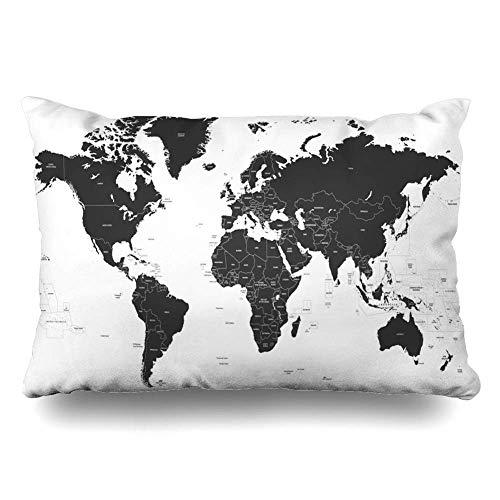 Funda de Almohada de Tiro América País Negro Mapa político Mundial Portugal Europa Brasil Asia Sur España Funda de cojín Decoración para el hogar Funda de Almohada 20x30 Pulgadas