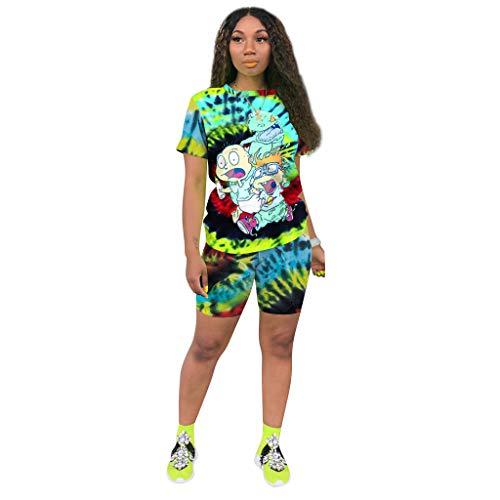 Bealin Womens 2 Piece Summer Outfits Sweatshirt Short Pants Workout Set Green Tie Dye M