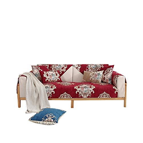 Funda de sofá Antideslizante de Chenilla Jacquard de Alta Gama Funda de sofá Funda de sofá Reversible para Mascotas,niños,niños,Perro,Gato,Rojo,110 * 240 cm