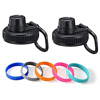 Vmini Spout Lid, Compatible with Hydro Flask Wide Mouth Sports Water Bottle, 5 Rubber Rings, Big Handle, Easy to Carry, Compatible with Most Wide Mouth Bottle - Black - 2 Pack