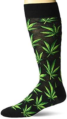 Hot Sox Men's Conversation Starter Novelty Casual Crew Socks, Cannabis (black), Shoe Size: 6-12 by Hot Sox