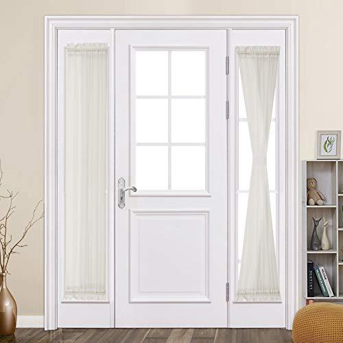 MIULEE 2 Panels Sidelight French Door Sheer Curtains for Kitchen Front Door Narrow Glass Door 25 x 72 Inches with Tieback - 2 Panels, Ivory