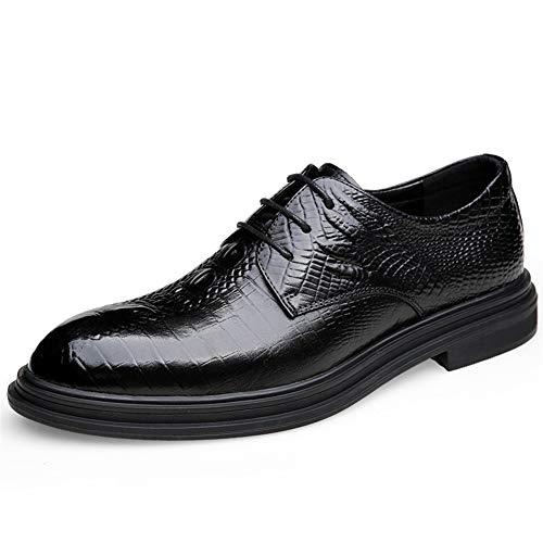 PANFU Zapatos de Boda Atan for Arriba en Relieve Cuero Genuino del Dedo del pie Redondo Pulido Estilo de Suela de Goma Resistentes al Desgaste de Negocios de Oxford for los Hombres