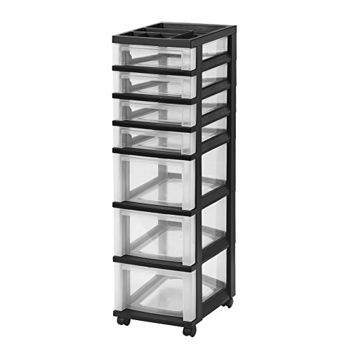 IRIS USA MC-343-TOP 7-Drawer Storage Cart with Organizer Top, Black