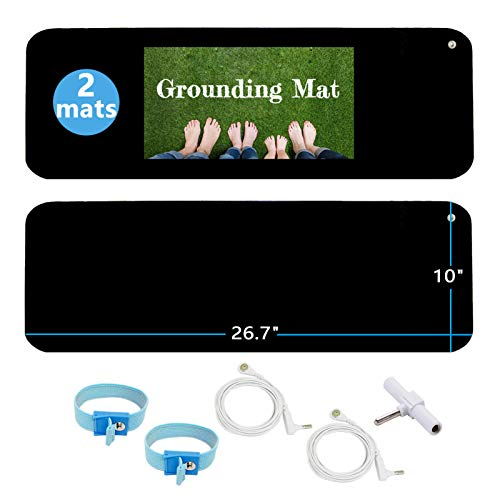 Grounding Mat Kit (2 Pack)-2 Grounding Mats (10 x 26.7') with Grounding Adapter, 2 Straight Cords (15ft) and 2 Grounding Wristbands - Reduce Inflammation, Improve Sleep and Help with Anxiety