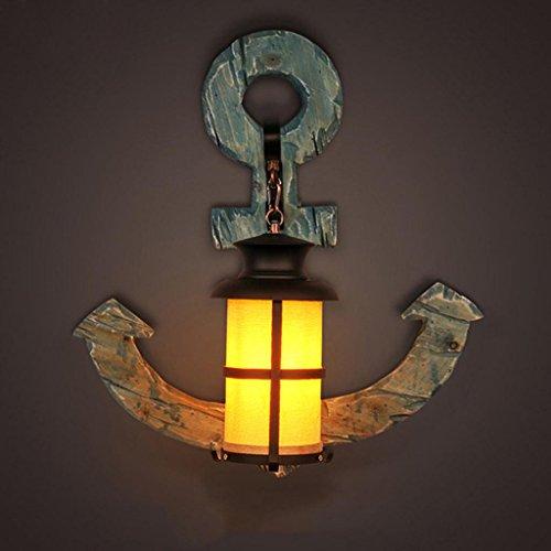 MFFACAI Retro Estilo Industrial de Madera sólida Barco Anchor lámpara de Pared Creative café de la Barra de iluminación del Estudio 51 * 55 cm Fuente de luz E27