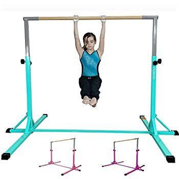 FC FUNCHEER Expandable Gymnastics kip bar with Fiberglass Cross bar & 304 Stainless Inserting Adjustable arm and Folding Gymnastic mat,Safe Training for Children  EJ Teal