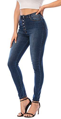 Ecupper Jean Femme Taille Haute Skinny Jegging en Denim avec Poches 1-Bleu foncé Étendue 38
