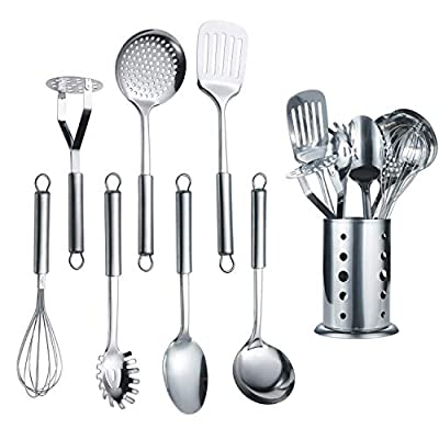 Berglander Cooking Utensil Set 8 Piece, Stainless Steel Kitchen Tool Set with Stand,Cooking Utensils, Slotted Tuner, Ladle, Skimmer, Serving Spoon, Pasta Server,Potato Maseher, Egg Whisk. ?8 Pieces?