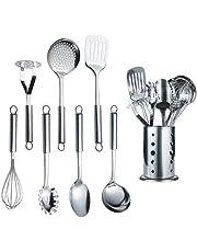 Berglander Utensilio de cocina de acero inoxidable de 7 piezas con 1 soporte, afinador ranurado, cucharón, espumadera, cuchara para servir, servidor de pasta, papa Maseher, batidor de huevos, soporte.