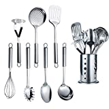 Berglander Cooking Utensil Set 8 Piece, Stainless Steel Kitchen Tool Set with Stand,Cooking Utensils, Slotted Tuner, Ladle, Skimmer, Serving Spoon, Pasta Server,Potato Maseher, Egg Whisk. (8 Pieces)