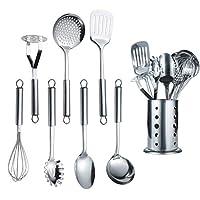 berglander utensile da cucina in acciaio inox 7 pezzi con 1 supporto, accordatore intagliato, mestolo, schiumarola, cucchiaio da portata, impasto per server, frullatore di patate, frusta per uova