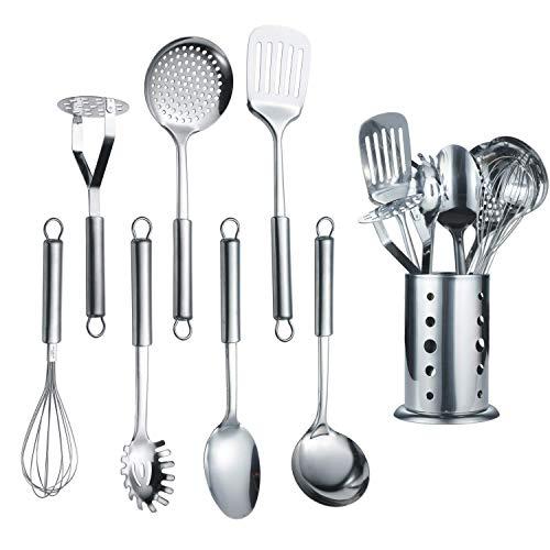 Berglander Ustensile de cuisine en acier inoxydable 7 pièces Avec 1 support, batterie de cuisine, cuillère de cuisson, ustensiles de cuisine