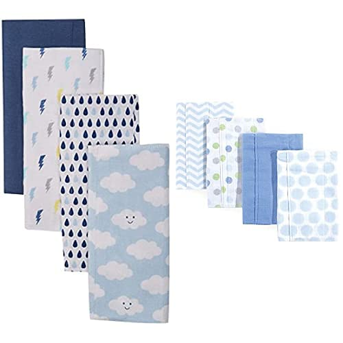 Luvable Friends Boy Special price Cotton Flannel 8-Pack Popular popular Cloth Clouds Burp Blu