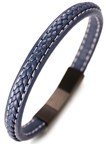 Halukakah  Jazz  Pulsera Hombre Cuero Genuina Azul Hecho a Mano Patrón en V Cierre Magnético Titanio Acero Inoxidable Negro 8.46'(21.5cm) con CajaDeRegaloGRATIS