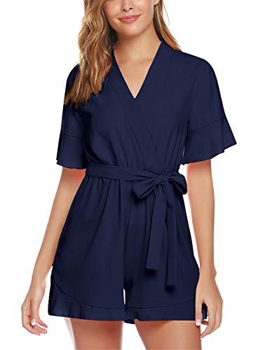 Abollria Damen Chiffon Jumpsuit Vintage Hoche Taille Sommerlicher Overall Elegant Kurz Einteiler in Wickeloptik mit Bindegürtel,Navyblau,XL