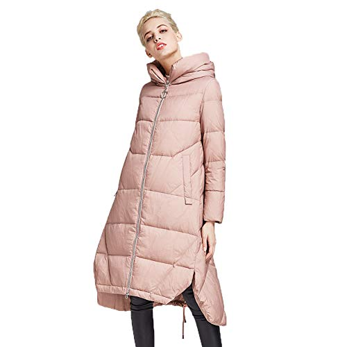 XYAIPR Dames Winterjas Medium en Lange Sectie Hooded Down Jacket A-lijn Hem Dikke Warme Twee-Weg Rits Jas