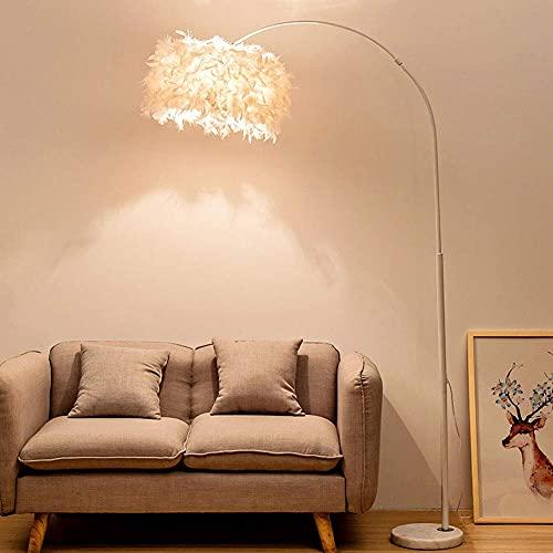 LLLKKK Lámpara de pie LED de lectura moderna con mando a distancia, regulable, para salón, dormitorio, mesita de noche, estilo nórdico, creativa, con plumas, 12 W