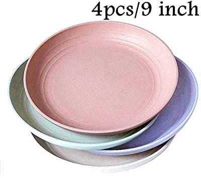 "Wheat Straw Plastic Plates Dinnerware Set/Reusable-Unbreakable Dinner Plate/Eco Friendly-Dishwasher & Microwave Safe, BPA Free And Healthy Cereal Dishes/Kids-toddler & Adult (9"" plate x 4pc)"
