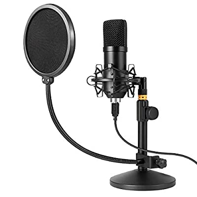 USB Microphone Kit 192kHz/24bit MAYOGA Condenser Podcast Streaming Cardioid Mic Kit with Sound Card Desktop Stand Shock Mount Pop Filter, Plug & Play for Skype, YouTube, Gaming