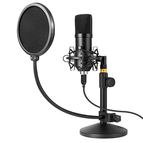 USB Microphone Kit 192kHz/24bit MAYOGA Condenser Podcast Streaming Cardioid Mic Kit with Sound Card Desktop Stand Shock Mount Pop Filter, Plug & Play for Skype, YouTube, Gaming MAYOGA