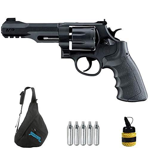 Revólver Smith & Wesson MP R8 CO2 (6mm)   Arma Corta de Airsoft (Bolas de plástico) + Mochila + biberón [395FPS]