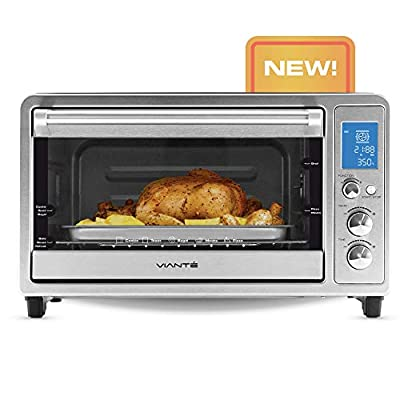 Viante Small Compact Convection Toaster Oven | Bakes, Broils, Toasts, Defrosts, Cooks Pizza, Bakes Cookies, Keeps Food Warm | Rottisserie Feature | Brushed Stainless Steel Body | Digital Controls and LCD Screen