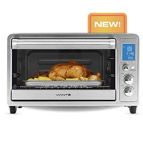 Viante Small Compact Convection Toaster Oven | Bakes, Broils, Toasts, Defrosts, Cooks...