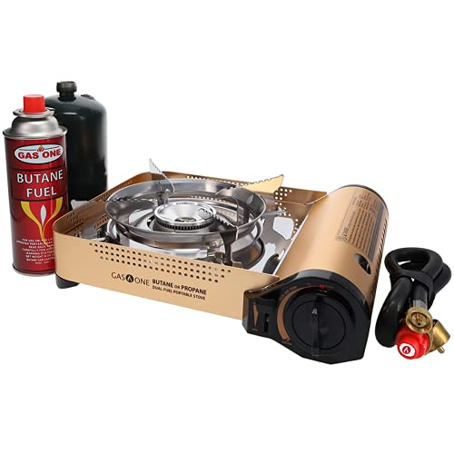 Gas ONE GS-4000P - Camp Stove - Premium Propane or Butane Stove with Convenient Carrying Case,...