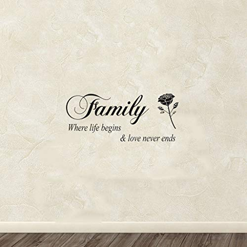 Popular Quote Words Family Where Life Begins Love Never End Rose Flower Home Decal Fashion For Living Room