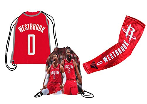 Forever Fanatics James Harden #13 or Westbrook #0 Basketball Gift Set Picture Backpack & Compression Shooter Arm Sleeve (6-13 Years, Westbrook)