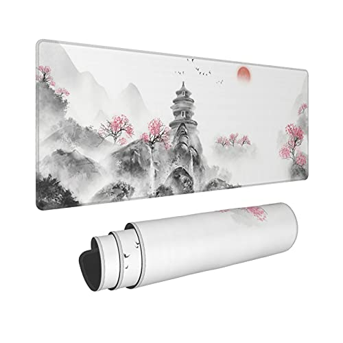 Chinese Chinoiserie Sakura Large Gaming Mouse Pad XL Asian Desk Mat Long Extended Keyboard Mousepad Non-Slip Rubber Base Stitched Edges Mice Pads for Office Home Gamer
