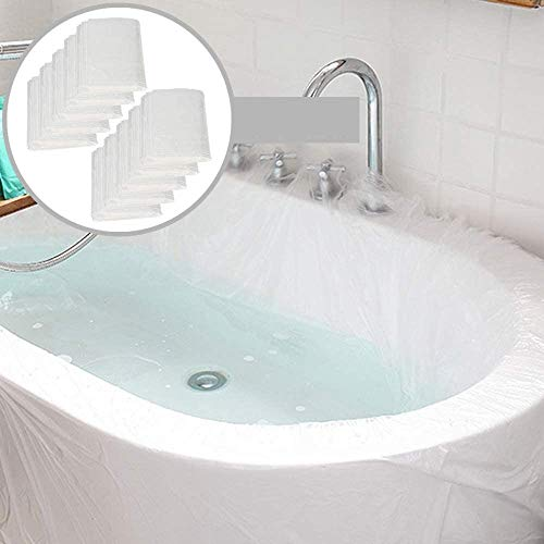 SALPPLEA 10 Pack Disposable Bathtub Cover Liner, Ultra Large Bathtub Liner Plastic Bag for Salon, Household and Hotel Bath Tubs (90x47 Inch)