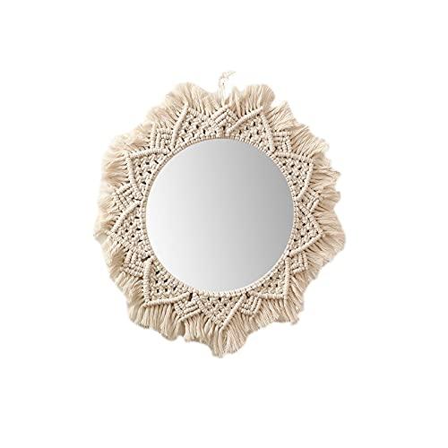Hearthxy Espejo de pared de macramé, redondo, hecho a mano, bohemio, antiguo, decorativo, para salón, dormitorio, habitación de bebé, decoración del hogar