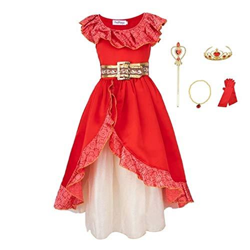 Disfraz Elena de Avalor Niña Vestido de Princesa Elena Cosplay Costume con Accesorios (Blanco, 110)