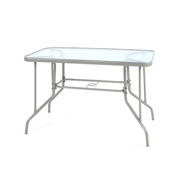 Nexos Bistrotisch eckig grau Balkontisch mit Glasplatte Schirmständerloch Gartentisch Glastisch Esstisch