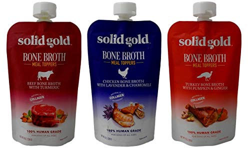 Solid Gold Human Grade Bone Broth Dog Food Meal Toppers 3 Flavor Sampler Bundle, 1 Each: Beef, Chicken, Turkey (8 Ounces)