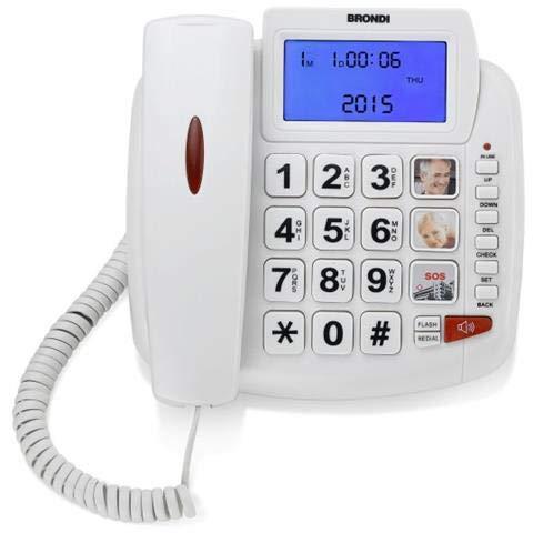 Brondi Bravo 90 LCD Telefono Fisso con tasti grandi, Bianco