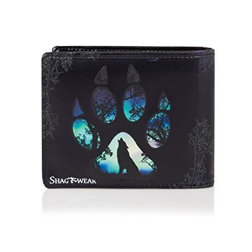 SHAGWEAR ® Geldbörse Portemonnaie Herren Geldbeutel Herren Portmonee Mehrfarbig Designs: (Wolfs Pfote/Wolf Paw)