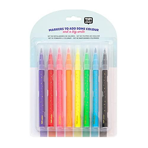 Set of 8 coloured marker pens Tipi Studio