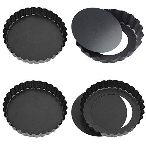 Tartelette Förmchen, NALCY 4 Zoll Förmchen Mini Quicheform, Runde Quiche-Form mit abnehmbarem Boden, für Kuchen, Pizza, Käsekuchen, Eierkunst