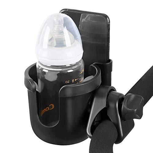 Kinderwagen Getränkehalter Becherhalter Universal Flaschenhalter 2 In 1 Handyhalterung Kaffeehalter Wasserflasche Milchflasche Rollstuhl für Buggy Fahrrad Rollstuhl