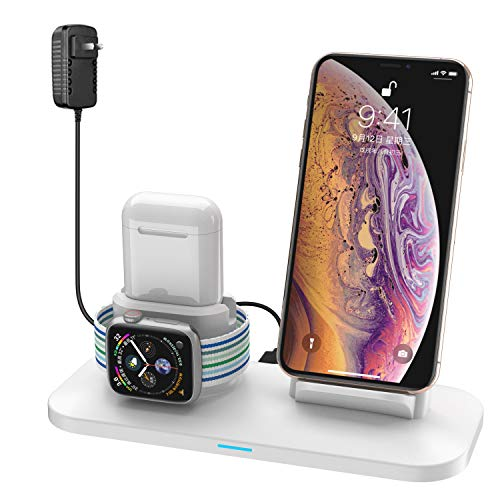 Wireless Charger, 3 in 1 Wireless Charging Station for A pple Watch and i Phone Air pods, Wireless Charging Stand Compatible for A pple i Phone X/XS/XR/Xs Max/A pple Watch Series