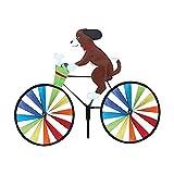 Sajuxon 3D Animal on Bike Windmill Wind Spinner Whirligig Garden Lawn Yard Decor,whirlygigs Wind Spinners,Premier Kites,Wind Spinners for Yard and Garden,Wind Spinners Outdoor Metal (Dog)