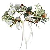 Folora Verstellbarer Blumen-Haarband Haarkranz Blumengirlande Kopfschmuck mit Band für Hochzeit Zeremonie Party Festival (O)