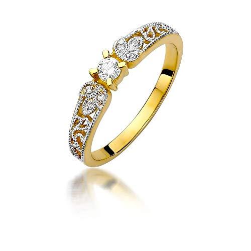 Anillo solitario de compromiso para mujer, oro amarillo 585 de 14 quilates, diamante natural