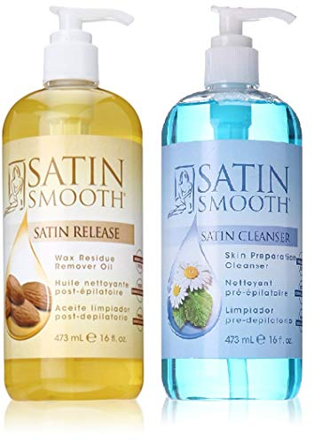 VALUE PACK! SATIN SMOOTH Satin Release Wax Residue Remover + Satin cleanser skin preparation cleanser, 16 ounce