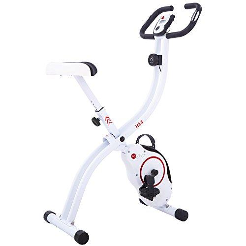 AsVIVA H14 Ergometer Heimtrainer und XBike mit 7kg Schwungmasse, Magnetbremse, 8 Widerstandsstufen Plus Riemenantrieb und klappbar | Weiß/Rot