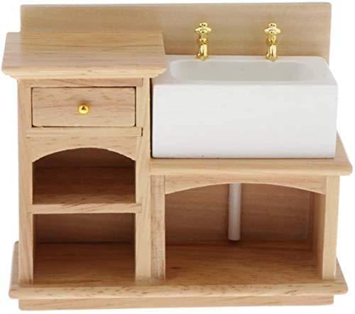hsj Puppenhaus aus Holz Waschbecken, 01.12 Mini Puppenhaus Zubehör Miniatur-Möbel Realistisch Spülbeckens for Badezimmer Küche Exquisite Verarbeitung (Color : Bathroom Sink)