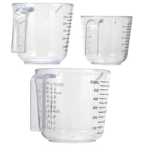 YARNOW Vasos Medidores de Plástico de 3 Piezas con Escala Vasos Graduados Transparentes Herramientas para Hornear para Mezclar Mancha de Pintura Contenedor de Líquido Epoxi